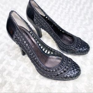 Guess By Marciano Black Leather Basket Weave Heels